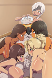 Ana, D.Va, Mercy, Pharah, Soldier 76 and Symmetra
