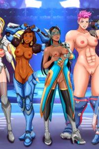 Ana, Brigitte, D.Va, Mei, Mercy, Moira, Orisa, Pharah, Sombra, Symmetra, Tracer, Widowmaker and Zarya