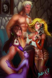D.Va, Mercy, Soldier 76 and Widowmaker